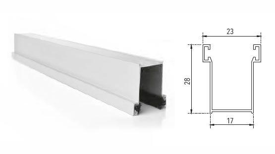 Guida in alluminio estruso A28 28 x 17 mm su misura con spazzolino per tapparelle avvolgibili