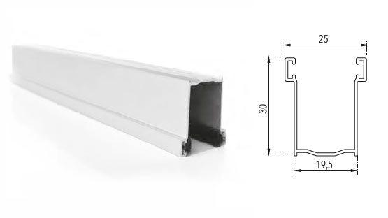 Guida in alluminio estruso A30 30 x 19,5 mm su misura con spazzolino per tapparelle avvolgibili