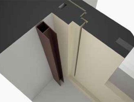 Cassonetto in luce in larghezza e altezza con avvolgimento verso l'interno (normale).